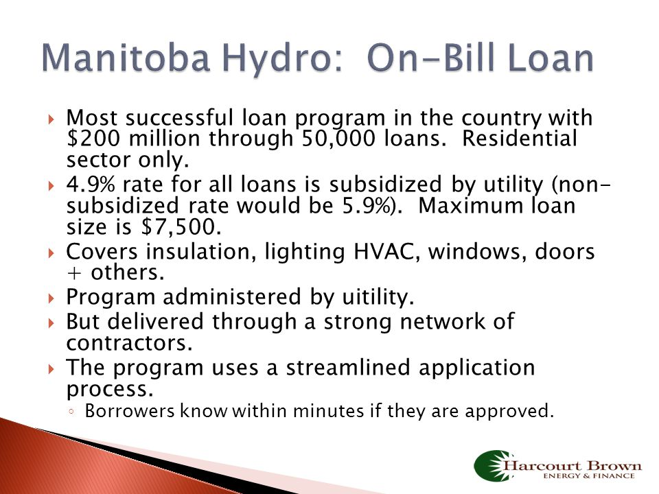  Most successful loan program in the country with $200 million through 50,000 loans. Residential sector only.  4.9% rate for all loans is subsidized