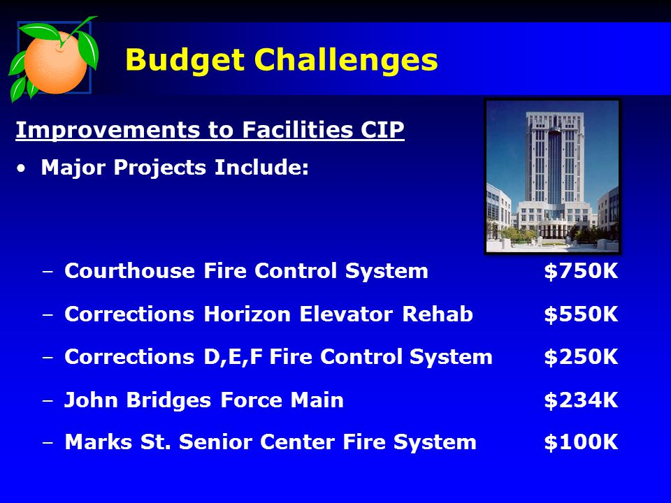 Budget Challenges Improvements to Facilities CIP Major Projects Include: –Courthouse Fire Control System$750K –Corrections Horizon Elevator Rehab$550K –Corrections D,E,F Fire ControlSystem$250K –John Bridges Force Main$234K –Marks St.