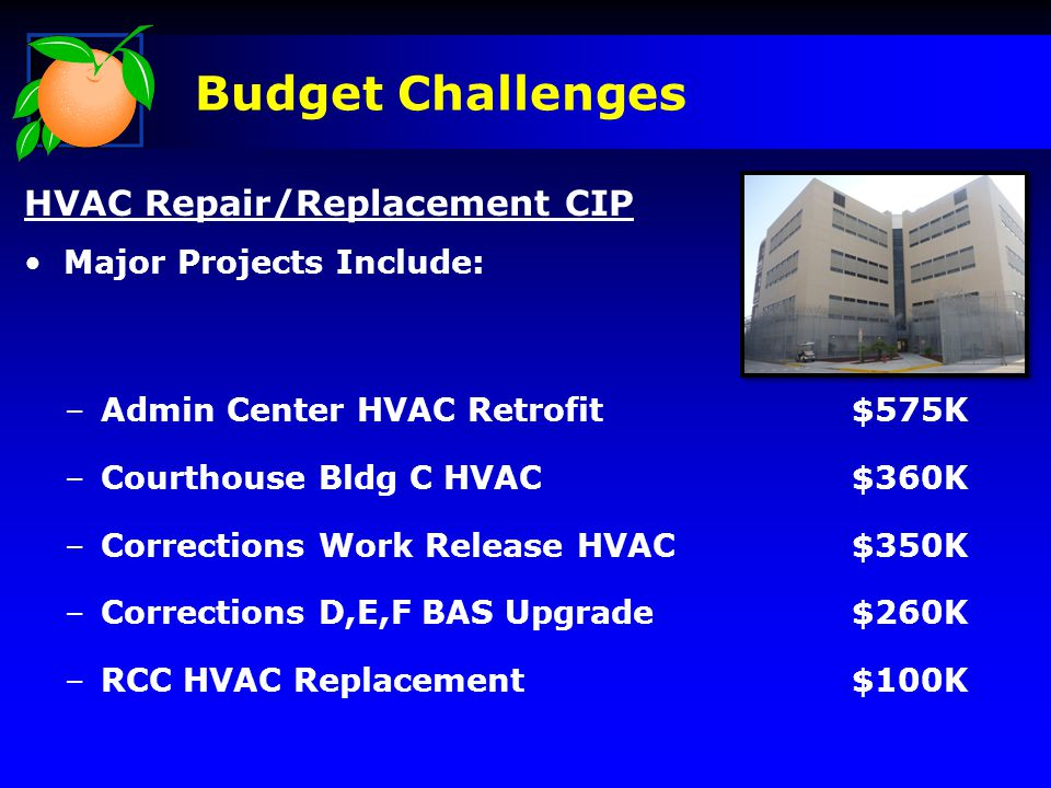 Budget Challenges HVAC Repair/Replacement CIP Major Projects Include: –Admin Center HVAC Retrofit$575K –Courthouse Bldg C HVAC$360K –Corrections Work Release HVAC$350K –Corrections D,E,F BAS Upgrade$260K –RCC HVAC Replacement$100K