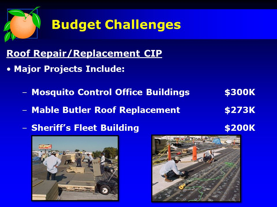 Budget Challenges Roof Repair/Replacement CIP Major Projects Include: –Mosquito Control Office Buildings$300K –Mable Butler Roof Replacement$273K –Sheriff's Fleet Building$200K
