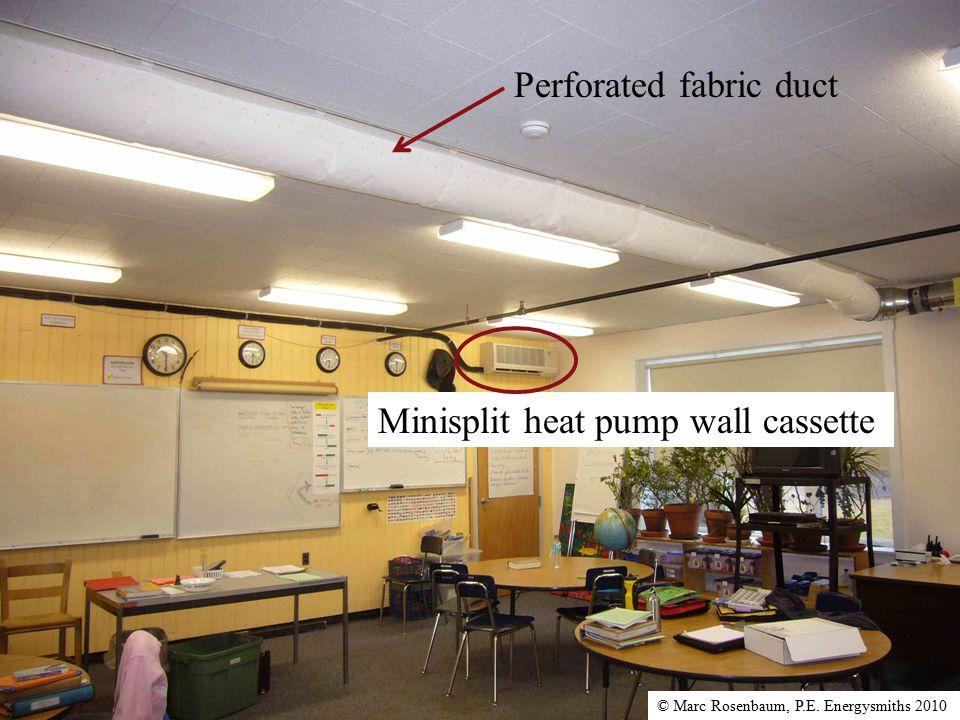 Minisplit heat pump wall cassette Perforated fabric duct © Marc Rosenbaum, P.E. Energysmiths 2010