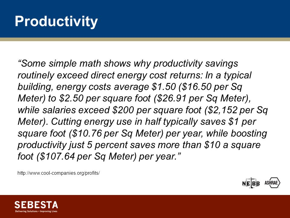 Productivity Benefits Improve occupant performance Estimated $29 – $168 billion in national productivity losses per year 1 Student performance is better in daylit schools.