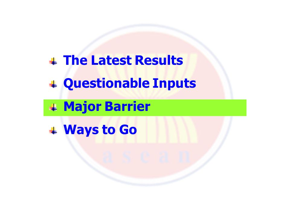 The Latest Results Questionable Inputs Major Barrier Ways to Go