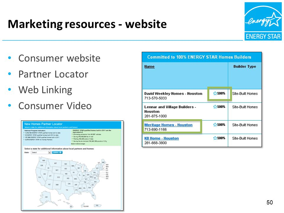 Marketing resources - website Consumer website Partner Locator Web Linking Consumer Video 50