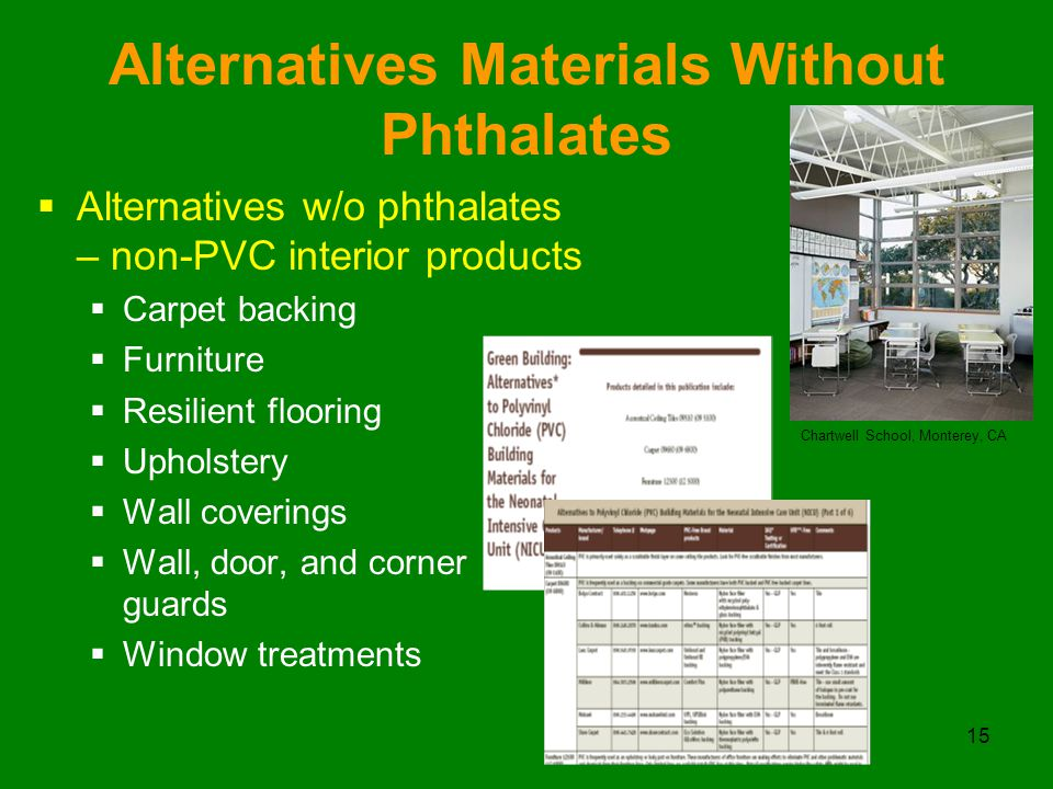 15 Alternatives Materials Without Phthalates  Alternatives w/o phthalates – non-PVC interior products  Carpet backing  Furniture  Resilient flooring  Upholstery  Wall coverings  Wall, door, and corner guards  Window treatments Chartwell School, Monterey, CA