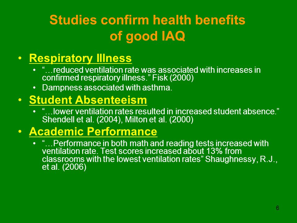 6 Studies confirm health benefits of good IAQ Respiratory Illness …reduced ventilation rate was associated with increases in confirmed respiratory illness. Fisk (2000) Dampness associated with asthma.