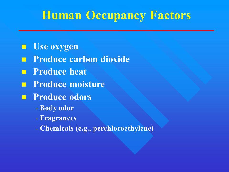 Human Occupancy Factors n Use oxygen n Produce carbon dioxide n Produce heat n Produce moisture n Produce odors - Body odor - Fragrances - Chemicals (e.g., perchloroethylene)