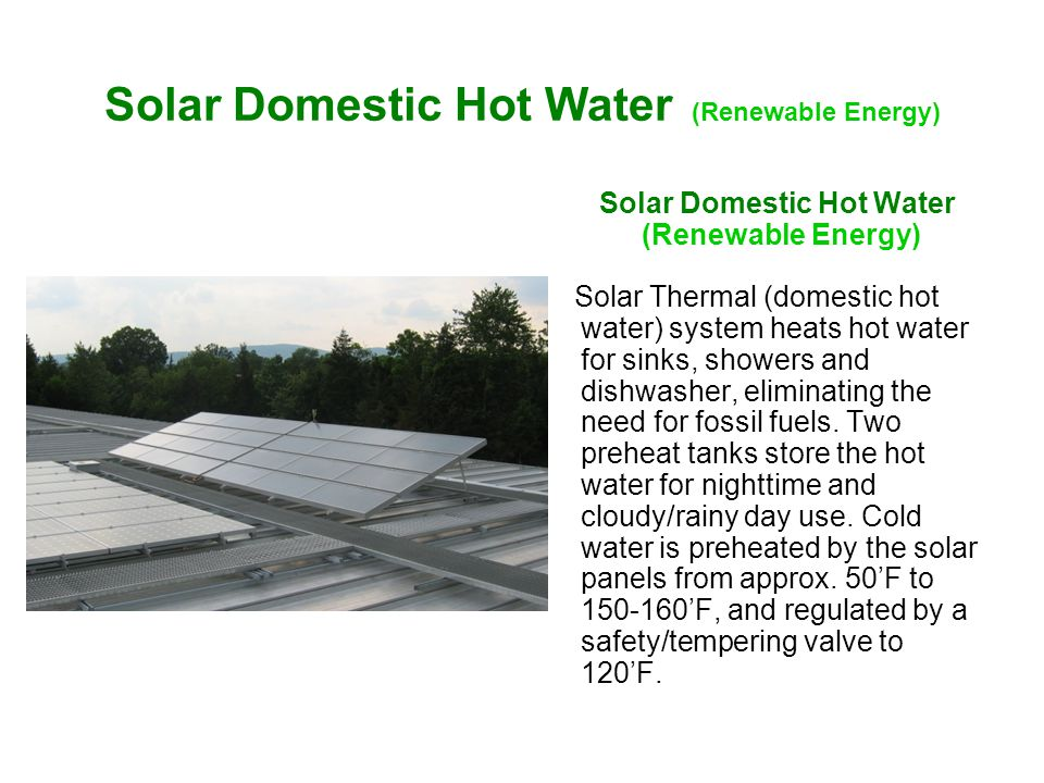 Solar Domestic Hot Water (Renewable Energy) Solar Thermal (domestic hot water) system heats hot water for sinks, showers and dishwasher, eliminating the need for fossil fuels.