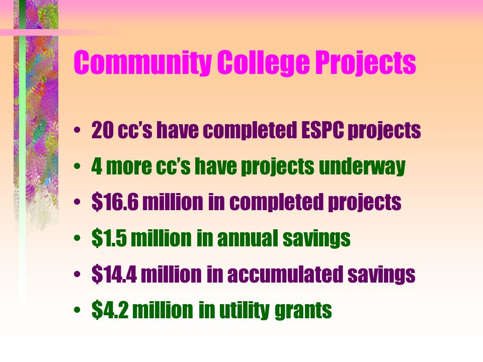Community College Projects 20 cc's have completed ESPC projects 4 more cc's have projects underway $16.6 million in completed projects $1.5 million in annual savings $14.4 million in accumulated savings $4.2 million in utility grants
