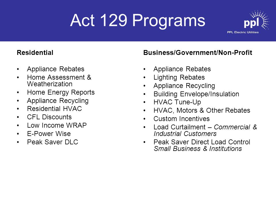 Act 129 Programs Residential Appliance Rebates Home Assessment & Weatherization Home Energy Reports Appliance Recycling Residential HVAC CFL Discounts Low Income WRAP E-Power Wise Peak Saver DLC Business/Government/Non-Profit Appliance Rebates Lighting Rebates Appliance Recycling Building Envelope/Insulation HVAC Tune-Up HVAC, Motors & Other Rebates Custom Incentives Load Curtailment – Commercial & Industrial Customers Peak Saver Direct Load Control Small Business & Institutions