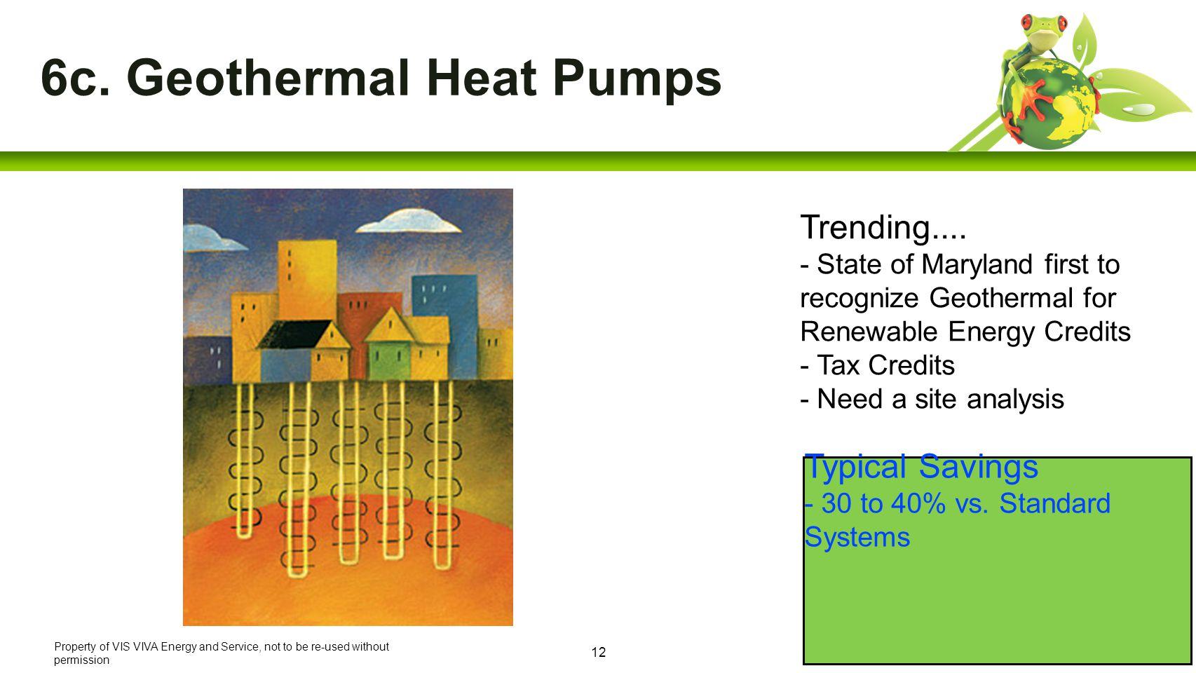 12 6c. Geothermal Heat Pumps Typical Savings - 30 to 40% vs.