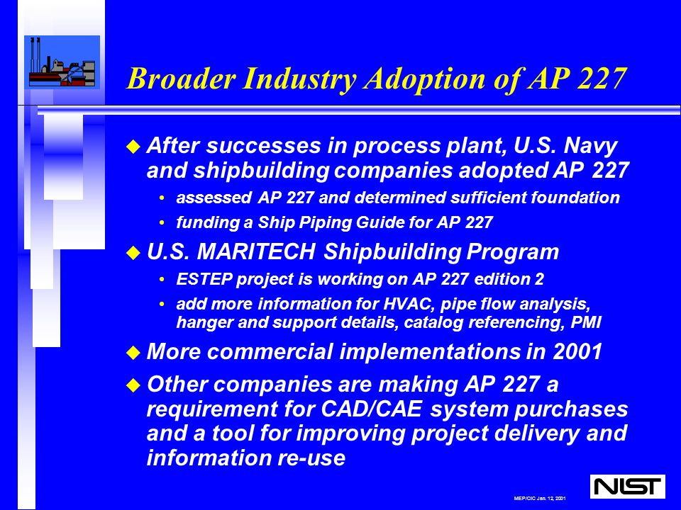 MEP/CIC Jan. 12, 2001 Broader Industry Adoption of AP 227 u After successes in process plant, U.S.