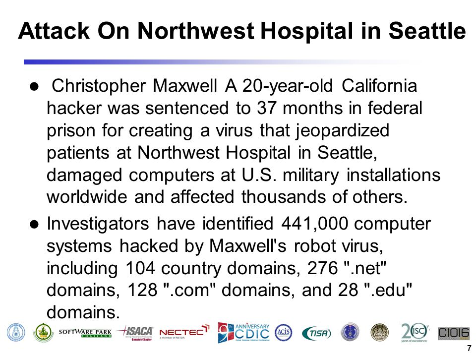 Attack On Northwest Hospital in Seattle Christopher Maxwell A 20-year-old California hacker was sentenced to 37 months in federal prison for creating