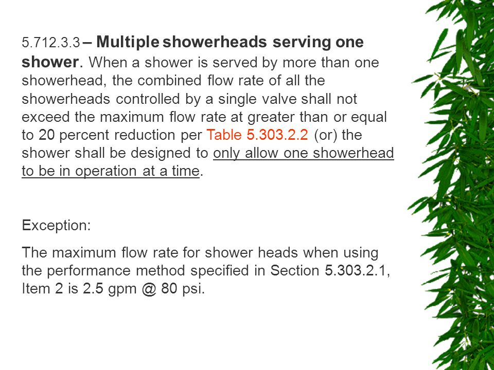 5.712.3.3 – Multiple showerheads serving one shower.