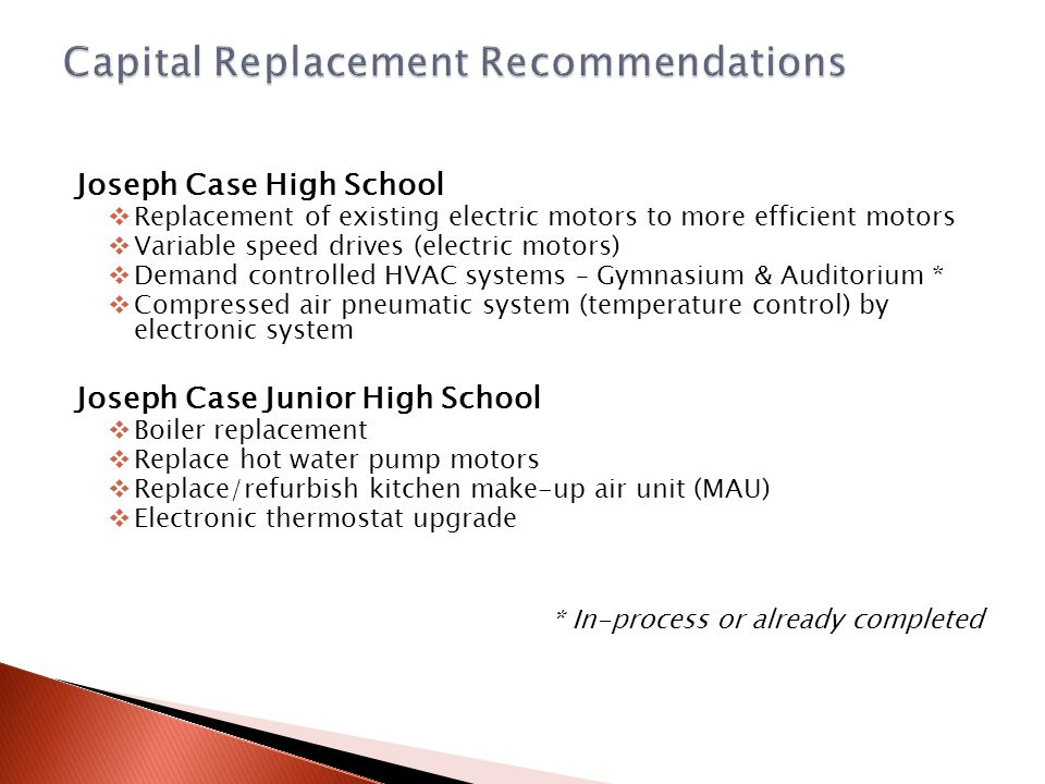 Joseph Case High School  Replacement of existing electric motors to more efficient motors  Variable speed drives (electric motors)  Demand controll