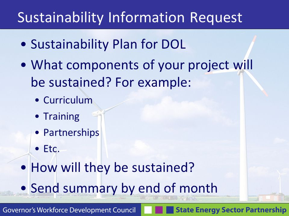 Sustainability Information Request Sustainability Plan for DOL What components of your project will be sustained.