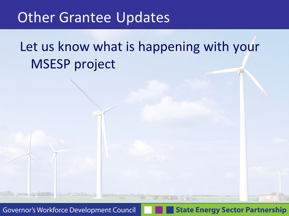Other Grantee Updates Let us know what is happening with your MSESP project