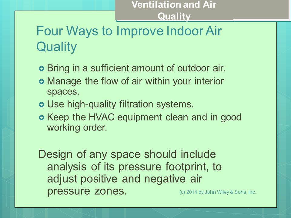 Ventilation and Air Quality Four Ways to Improve Indoor Air Quality  Bring in a sufficient amount of outdoor air.