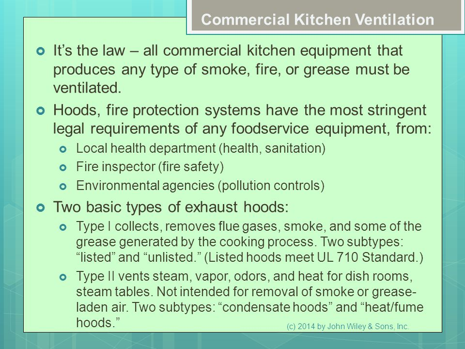 Commercial Kitchen Ventilation  It's the law – all commercial kitchen equipment that produces any type of smoke, fire, or grease must be ventilated.