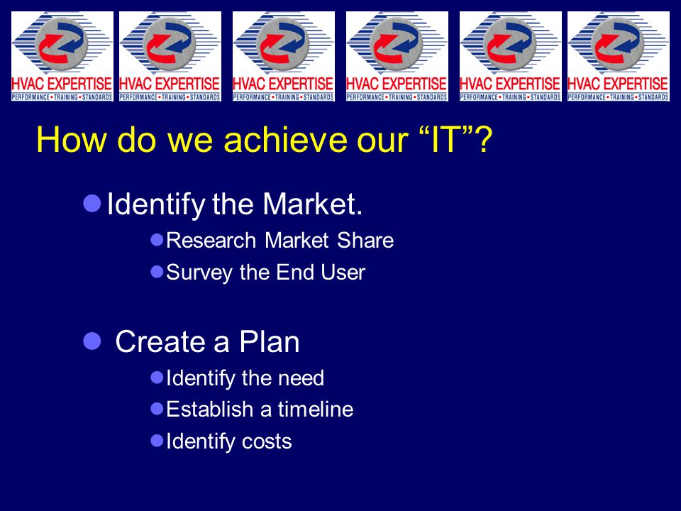 How do we achieve our IT . Identify the Market.