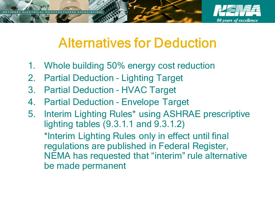80 years of excellence Alternatives for Deduction 1.Whole building 50% energy cost reduction 2.Partial Deduction – Lighting Target 3.Partial Deduction – HVAC Target 4.Partial Deduction – Envelope Target 5.Interim Lighting Rules* using ASHRAE prescriptive lighting tables (9.3.1.1 and 9.3.1.2) *Interim Lighting Rules only in effect until final regulations are published in Federal Register, NEMA has requested that interim rule alternative be made permanent