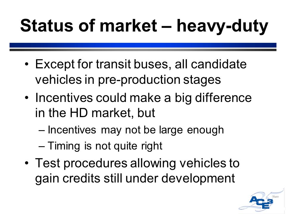 Status of market – heavy-duty Except for transit buses, all candidate vehicles in pre-production stages Incentives could make a big difference in the HD market, but –Incentives may not be large enough –Timing is not quite right Test procedures allowing vehicles to gain credits still under development
