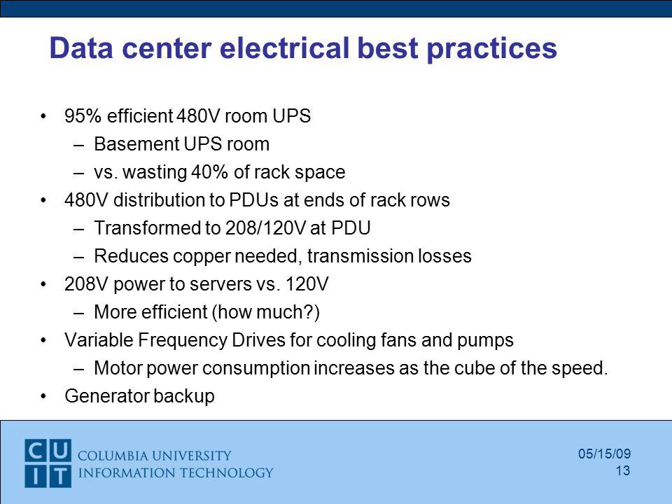 Data center electrical best practices 95% efficient 480V room UPS –Basement UPS room –vs.