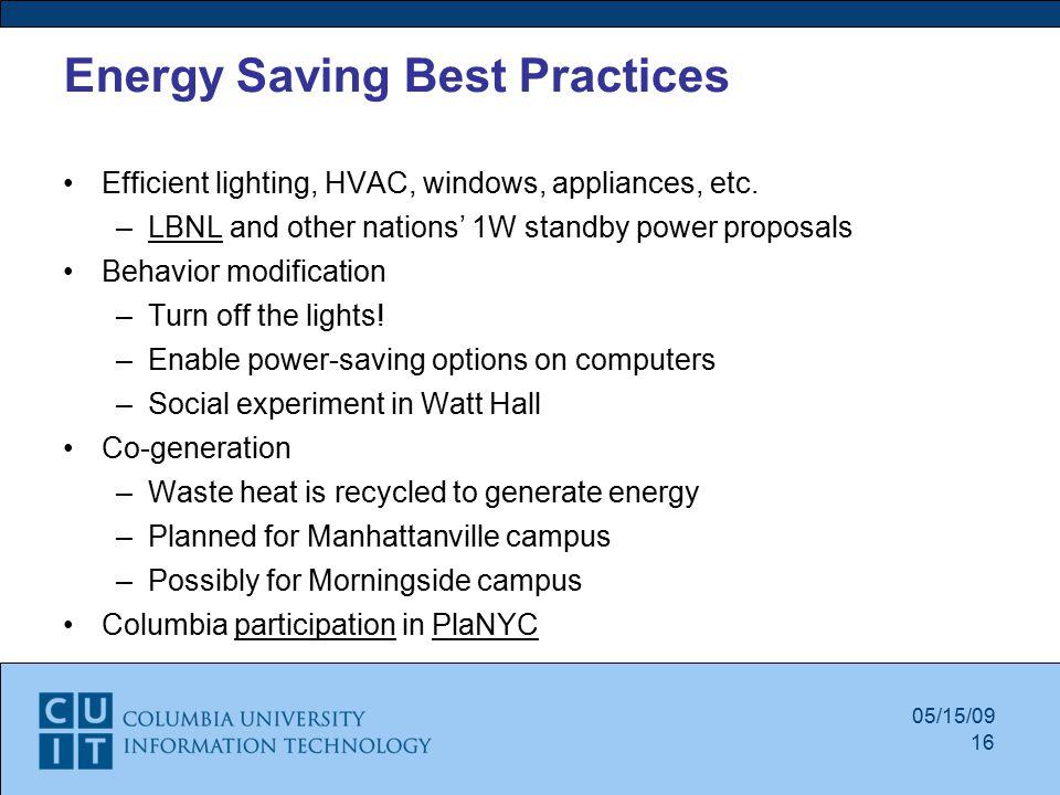 Energy Saving Best Practices Efficient lighting, HVAC, windows, appliances, etc.