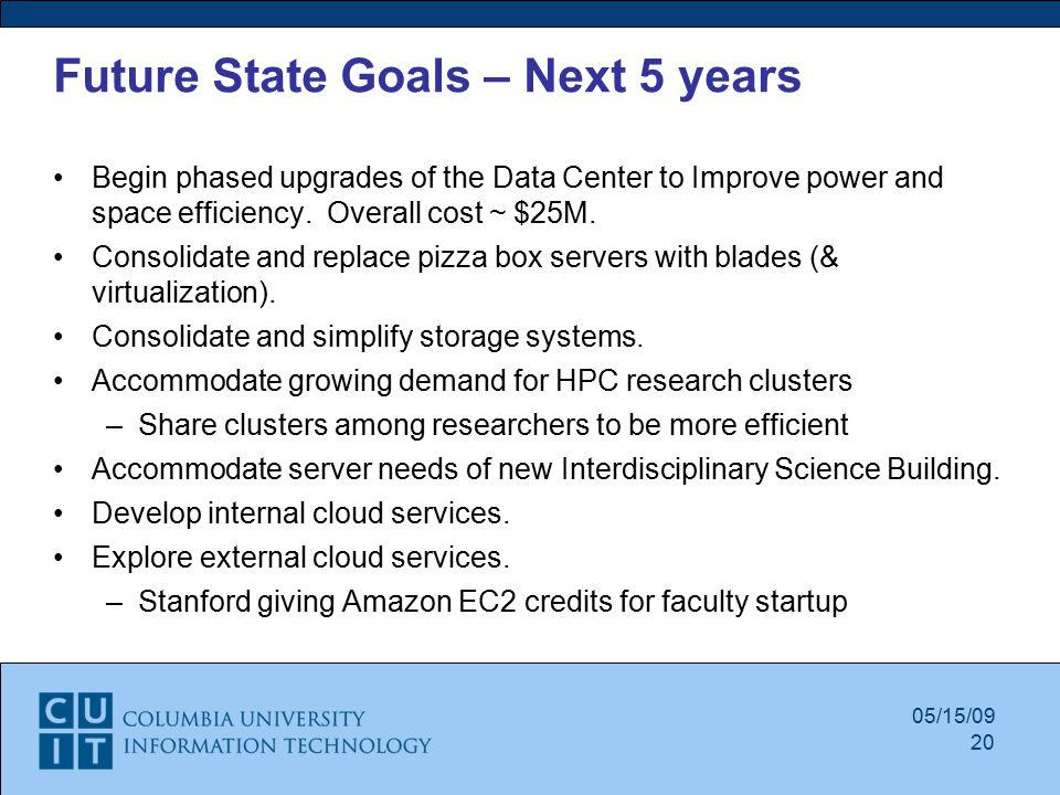 05/15/09 Future State Goals – Next 5 years Begin phased upgrades of the Data Center to Improve power and space efficiency.
