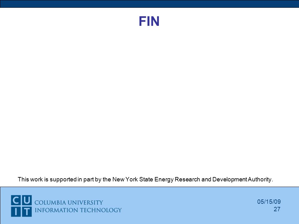 FIN This work is supported in part by the New York State Energy Research and Development Authority.