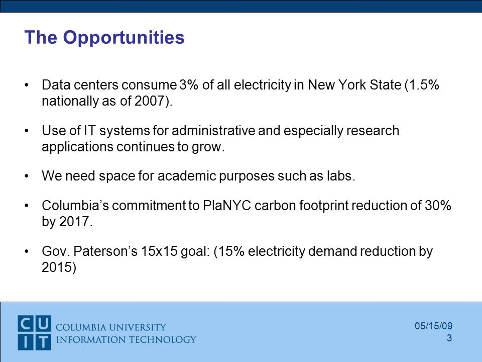 05/15/09 The Opportunities Data centers consume 3% of all electricity in New York State (1.5% nationally as of 2007).