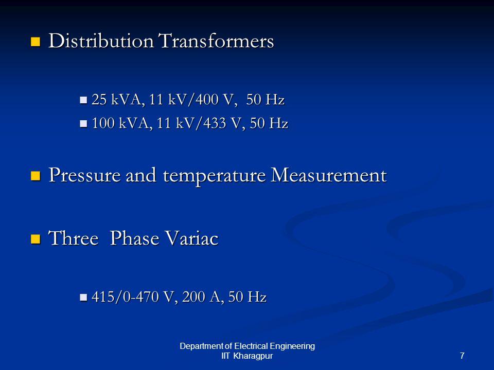 8 Department of Electrical Engineering IIT Kharagpur Single Phase Variac Single Phase Variac 240/0-270 V, 28 A, 50 Hz 240/0-270 V, 28 A, 50 Hz Measuring Equipments Measuring Equipments Oscilloscopes : 25 GS/s, 150 MHz Oscilloscopes : 25 GS/s, 150 MHz 1 GS/s, 500 MHz 1 GS/s, 500 MHz 1 GS/s, 100 MHz 1 GS/s, 100 MHz Current Probes : 2000 A(peak), 400 volts Current Probes : 2000 A(peak), 400 volts Electrometer : 2 V - 200 V, 20 pA – 20 mA, 2 k Ω – 200 G Ω, Electrometer : 2 V - 200 V, 20 pA – 20 mA, 2 k Ω – 200 G Ω, 20 nCoulomb – 20 μCoulomb 20 nCoulomb – 20 μCoulomb