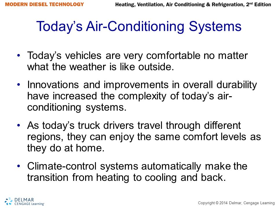 Copyright © 2014 Delmar, Cengage Learning Today's Air-Conditioning Systems Today's vehicles are very comfortable no matter what the weather is like ou