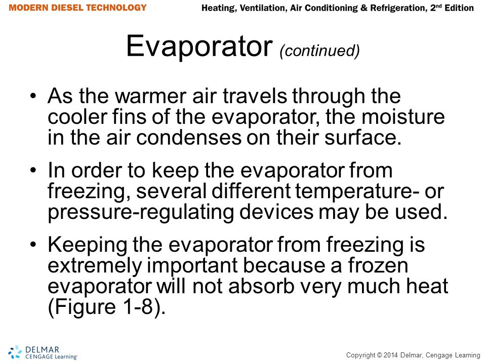 Copyright © 2014 Delmar, Cengage Learning Evaporator (continued) As the warmer air travels through the cooler fins of the evaporator, the moisture in