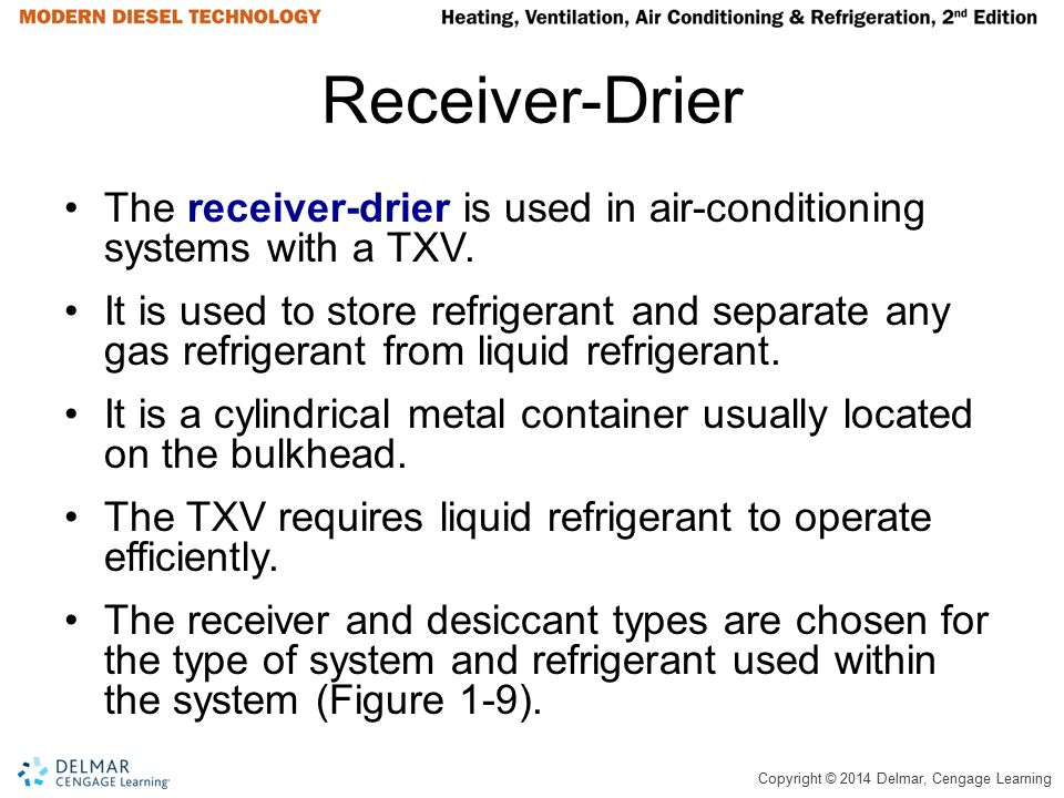 Copyright © 2014 Delmar, Cengage Learning Receiver-Drier The receiver-drier is used in air-conditioning systems with a TXV. It is used to store refrig