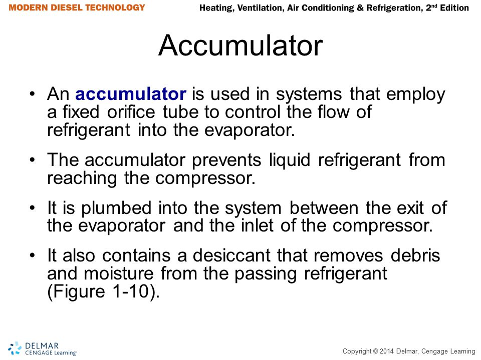 Copyright © 2014 Delmar, Cengage Learning Accumulator An accumulator is used in systems that employ a fixed orifice tube to control the flow of refrig