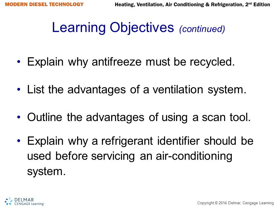 Copyright © 2014 Delmar, Cengage Learning Learning Objectives (continued) Explain why antifreeze must be recycled. List the advantages of a ventilatio