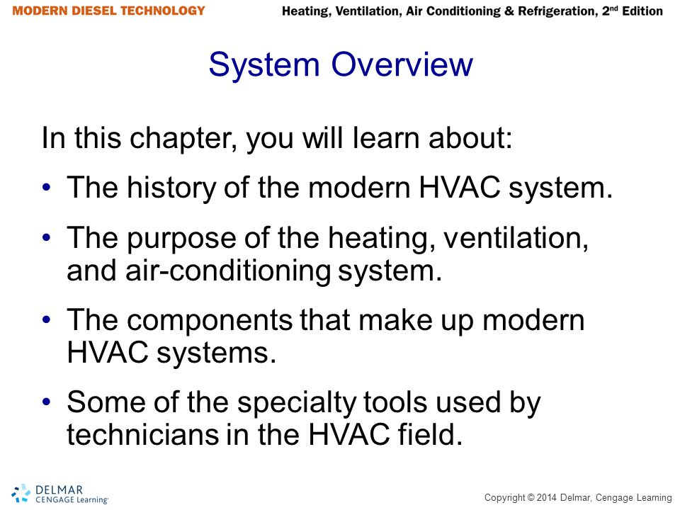Copyright © 2014 Delmar, Cengage Learning System Overview In this chapter, you will learn about: The history of the modern HVAC system. The purpose of