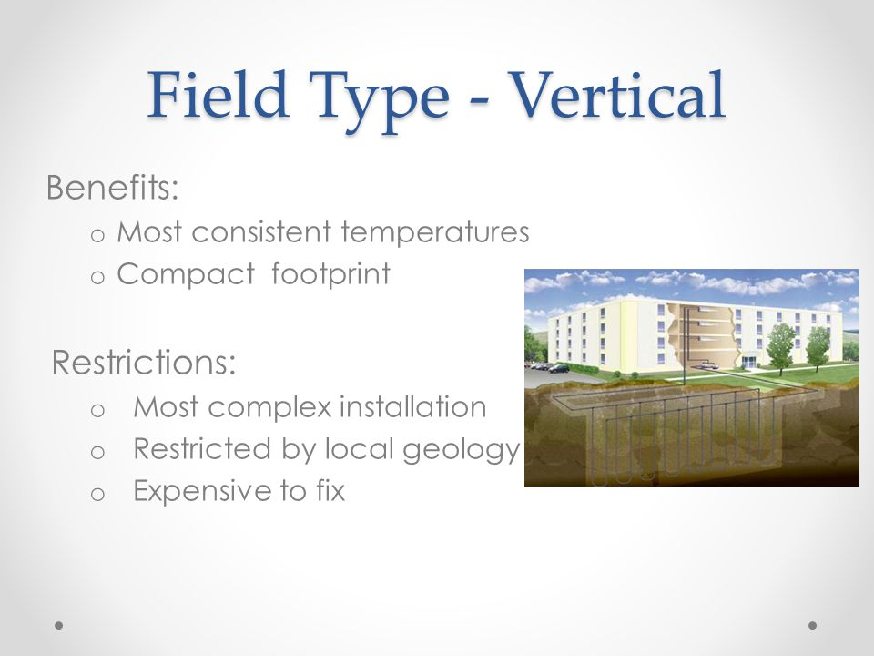Field Type - Vertical Benefits: o Most consistent temperatures o Compact footprint Restrictions: o Most complex installation o Restricted by local geology o Expensive to fix