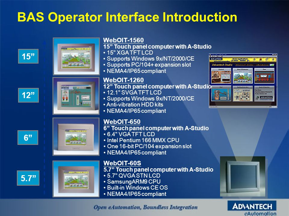 5.7 6 12 15 WebOIT-60S 5.7 Touch panel computer with A-Studio 5.7 QVGA STN LCD SamsungARM9 CPU Built-in Windows CE OS NEMA4/IP65 compliant WebOIT-650 6 Touch panel computer with A-Studio 6.4 VGA TFT LCD Intel Pentium 166 MMX CPU One 16-bit PC/104 expansion slot NEMA4/IP65 compliant WebOIT-1260 12 Touch panel computer with A-Studio 12.1 SVGA TFT LCD Supports Windows 9x/NT/2000/CE Anti-vibration HDD kits NEMA4/IP65 compliant WebOIT-1560 15 Touch panel computer with A-Studio 15 XGA TFT LCD Supports Windows 9x/NT/2000/CE Supports PC/104+ expansion slot NEMA4/IP65 compliant BAS Operator Interface Introduction