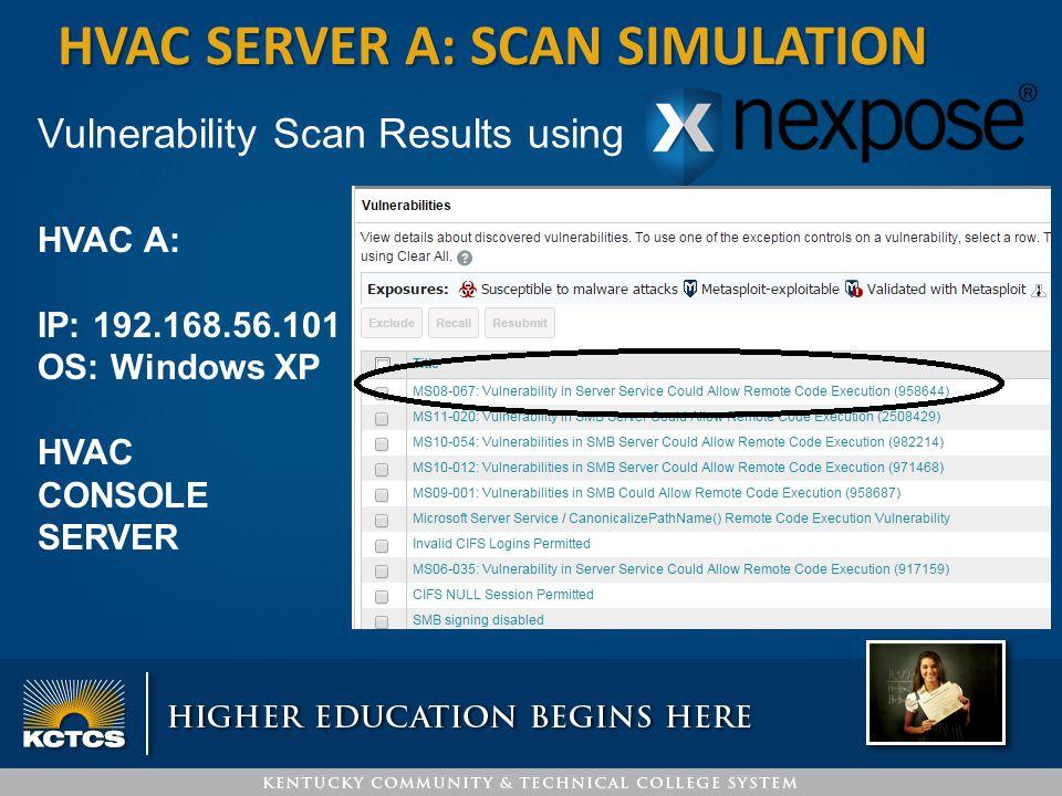 HVAC SERVER A: SCAN SIMULATION Vulnerability Scan Results using HVAC A: IP: 192.168.56.101 OS: Windows XP HVAC CONSOLE SERVER