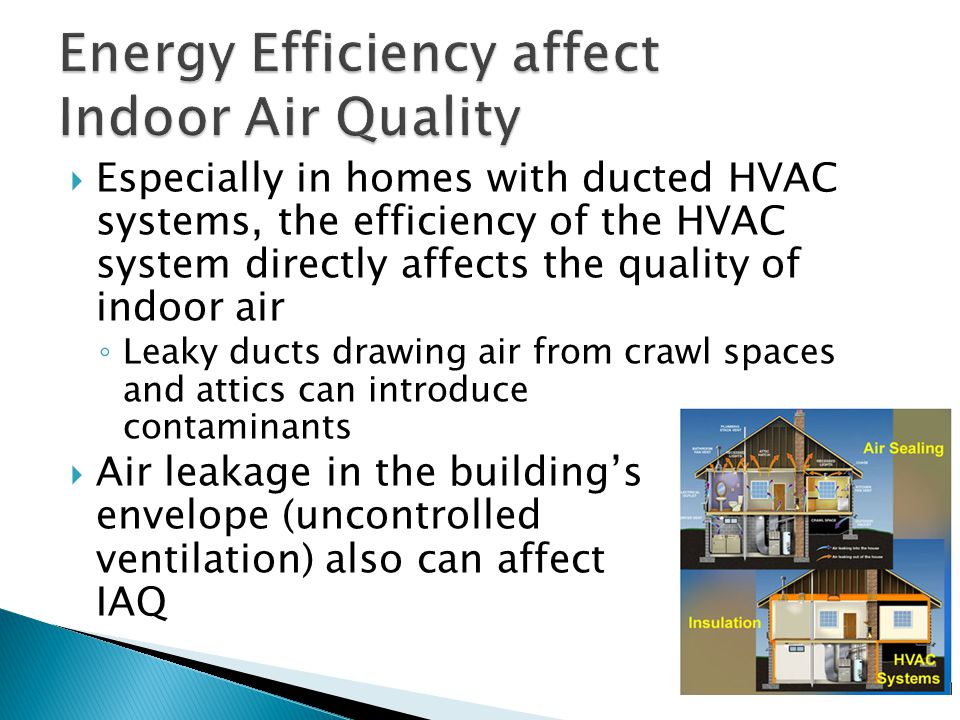  Especially in homes with ducted HVAC systems, the efficiency of the HVAC system directly affects the quality of indoor air ◦ Leaky ducts drawing air from crawl spaces and attics can introduce contaminants  Air leakage in the building's envelope (uncontrolled ventilation) also can affect IAQ