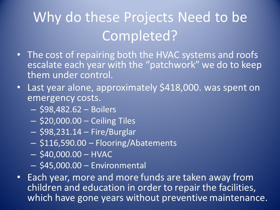 Why do these Projects Need to be Completed.