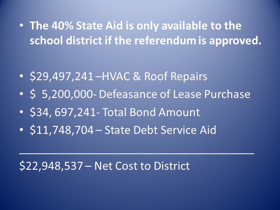 The 40% State Aid is only available to the school district if the referendum is approved.