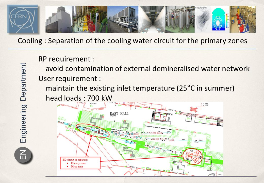 Engineering Department EN Cooling : Separation of the cooling water circuit for the primary zones RP requirement : avoid contamination of external demineralised water network User requirement : maintain the existing inlet temperature (25°C in summer) head loads : 700 kW