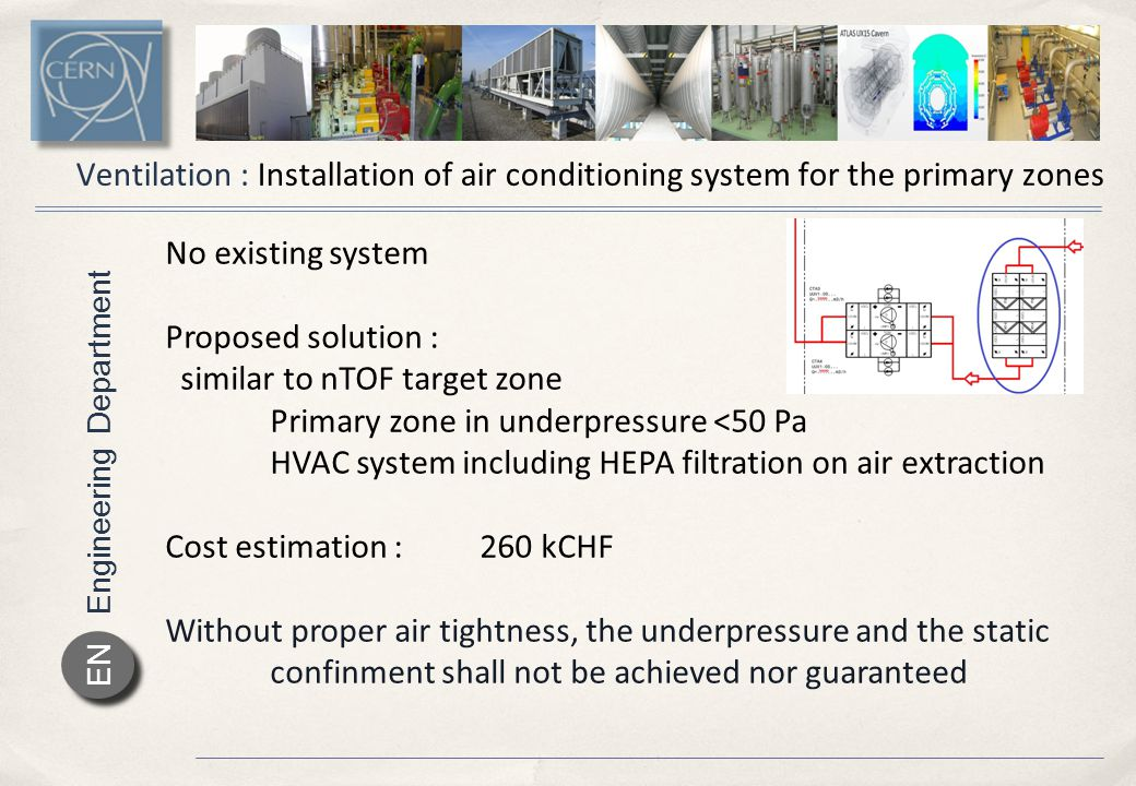 Engineering Department EN Ventilation : Installation of air conditioning system for the primary zones No existing system Proposed solution : similar to nTOF target zone Primary zone in underpressure <50 Pa HVAC system including HEPA filtration on air extraction Cost estimation :260 kCHF Without proper air tightness, the underpressure and the static confinment shall not be achieved nor guaranteed