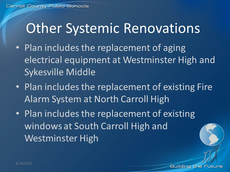 Other Systemic Renovations 8/28/2013 Plan includes the replacement of aging electrical equipment at Westminster High and Sykesville Middle Plan includ
