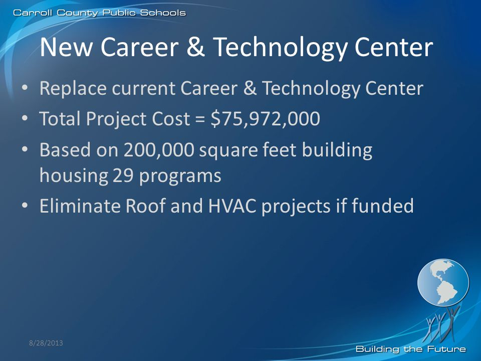 New Career & Technology Center Replace current Career & Technology Center Total Project Cost = $75,972,000 Based on 200,000 square feet building housi