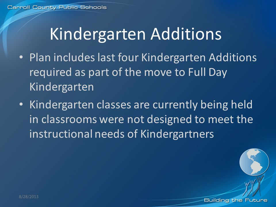 Kindergarten Additions 8/28/2013 Plan includes last four Kindergarten Additions required as part of the move to Full Day Kindergarten Kindergarten cla