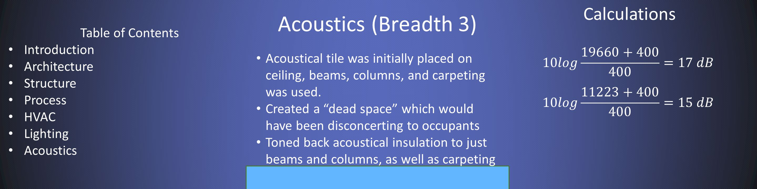 Acoustics (Breadth 3) Calculations Acoustical tile was initially placed on ceiling, beams, columns, and carpeting was used.